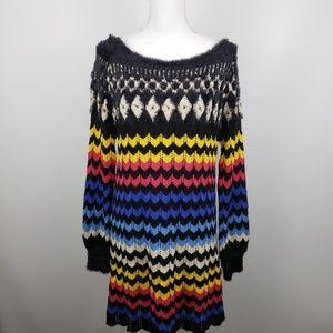 Farm Rio knit sheath Sweater modern chevron Dress